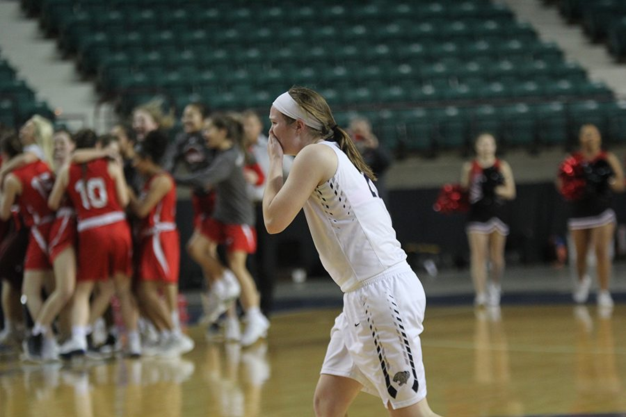 After the game ended, junior Claire Kaifes becomes emotional.