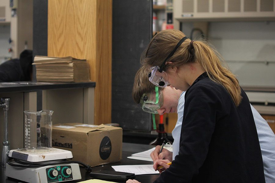 In thermodynamics, juniors Aniston Cumbie and Andrew Thomas write on the test form. Cumbie and Thomas placed fifth in the event.