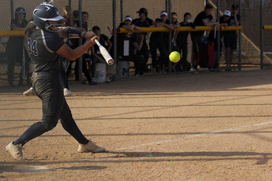 After+the+pitch%2C+sophomore+Jessica+Garcia+hits+the+ball.