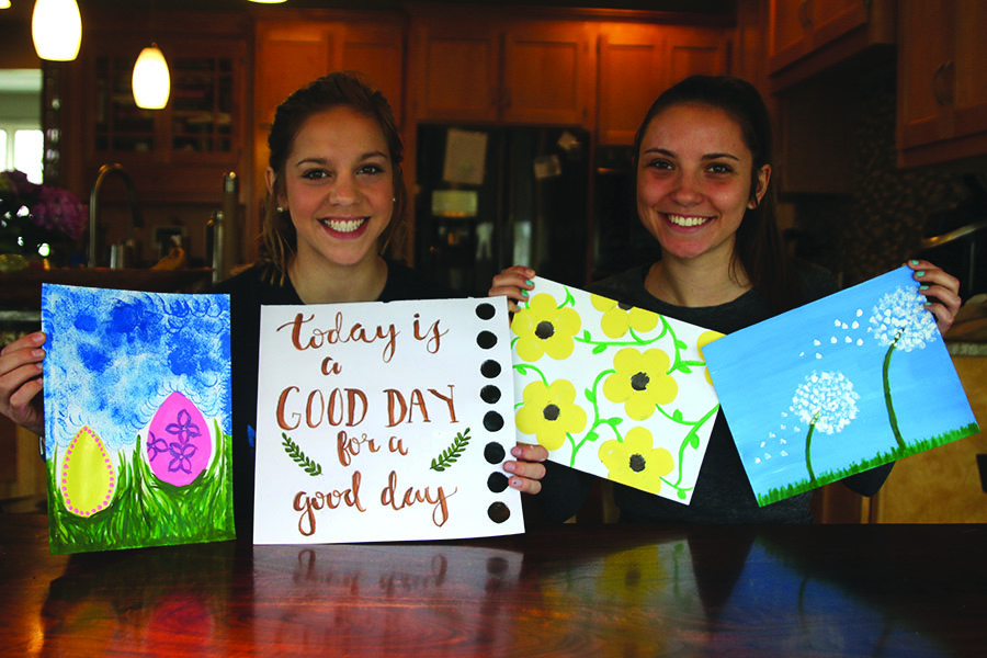 Spending the morning together on Saturday, March 31, junior Caroline Rutledge and senior Hailey Stelle paint pictures as a way to disconnect from technology and instead better connect with one another.