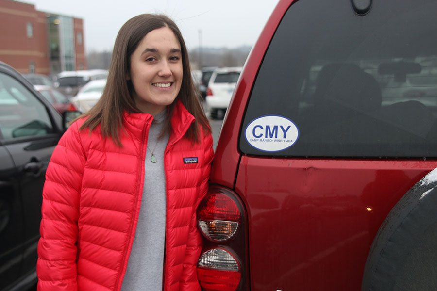 The+CMY+sticker+on+the+back+of+Hannah+Barnes%E2%80%99+Jeep+Liberty+is+a+representation+of+the+memories+she+has+made+at+Camp+Menito-Wish+YMCA.
