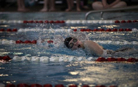 Junior Emily Proctor swims in a freestyle during one of her events on Tuesday, May 2.