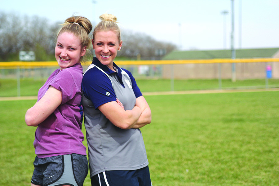 As softball manager, senior Abby Sutton is able to strengthen her relationship with head softball coach Jessica DeWild.