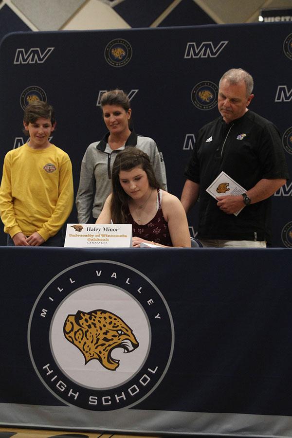 Senior+Haley+Minor+signs+to+the+University+of+Wisconsin+Oshkosh+for+gymnastics.