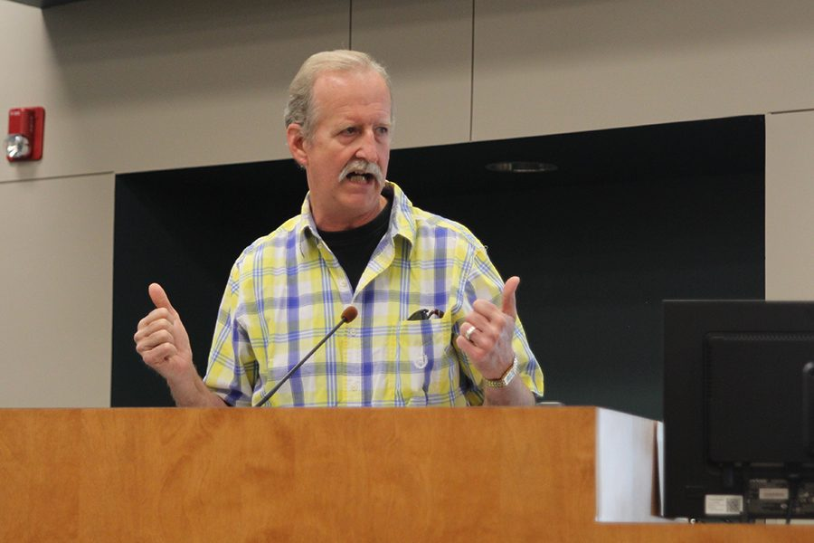 Wrapping up the staff presentation at the District Board meeting, Clear Creek Elementary head custodian Rusty Rhodes gives his perception on what he thinks would make his school safer.