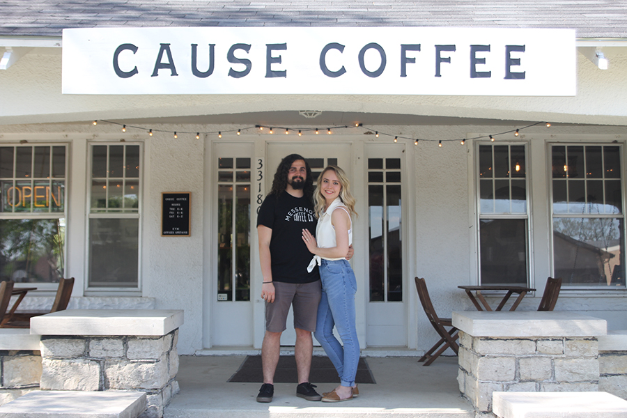 Daughter and barista Cheyenne Lowe and son-in-law and barista Colton Lowe of Cause Coffee owner Tara Stuke celebrate the success of the business in the first few months of operation on Friday, May 4.