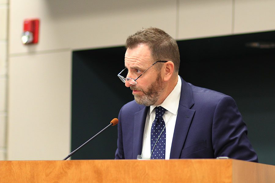After giving his presentation on school security at the Board of Education meeting on Monday, Aug. 13, assistant superintendent Alvie Cater looks at his fellow board members.