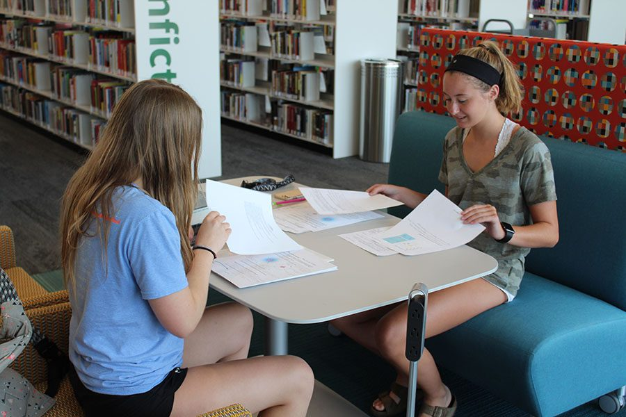 At+the+library+on+Sunday%2C+Aug.+12%2C+seniors+Emily+Proctor+and+Meredith+Angelotti+work+on+completing+their+AP+Biology+summer+assignment.