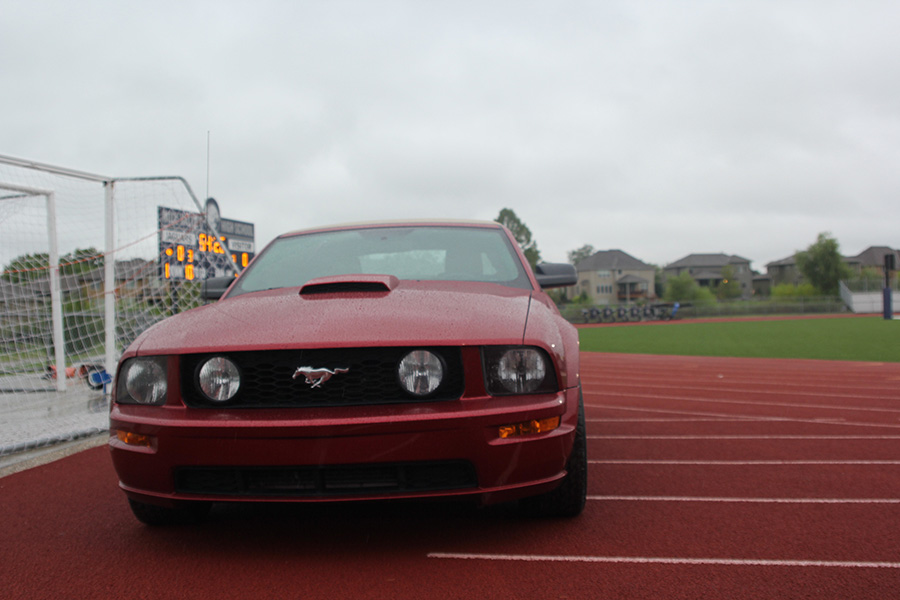 At the end of the line of cars sits, Noah Smith and Payton Totzke's red mustang.