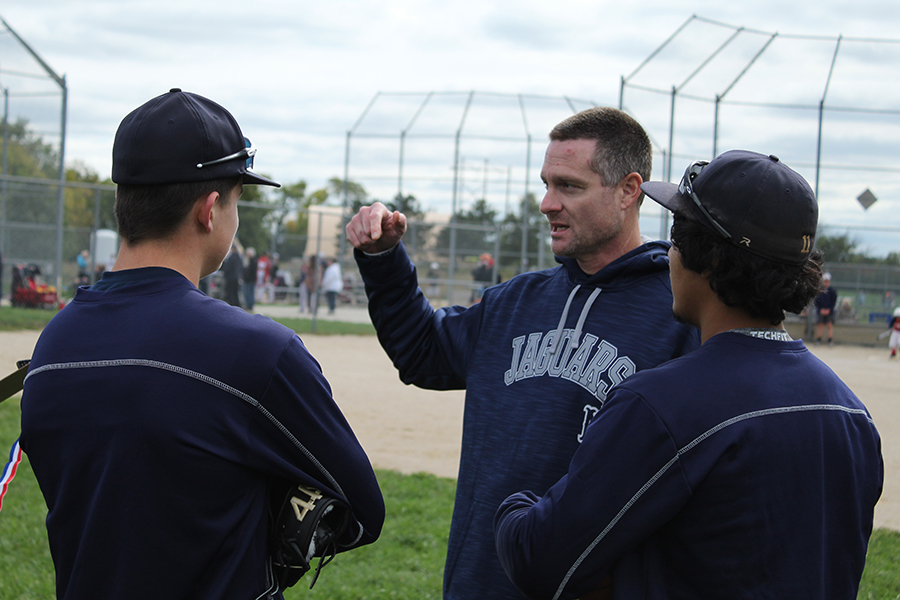 Head baseball coach Jeff Strickland explains instructions to the Jaguar baseball players at the Bigger than Baseball clinic on Saturday, Oct. 13.