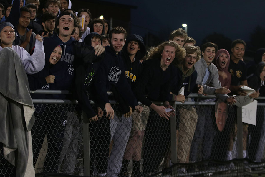 Student+section+cheers+after+senior+Jake+Ashford+scores+the+second+goal+right+before+half+time.+