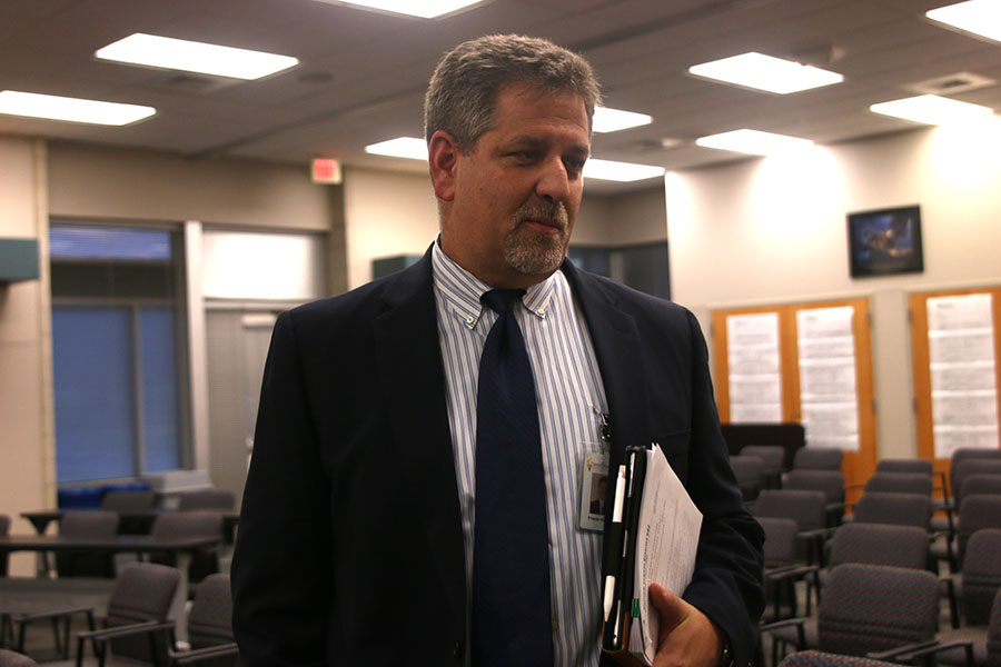 "Following a Board of Education meeting on Monday, Oct. 1, Superintendent Frank Harwood explains new security measures. ""Front office security is about delaying somebody who is trying to do something bad,"" Harwood said. ""It slows them down, which is the biggest part of this."""
