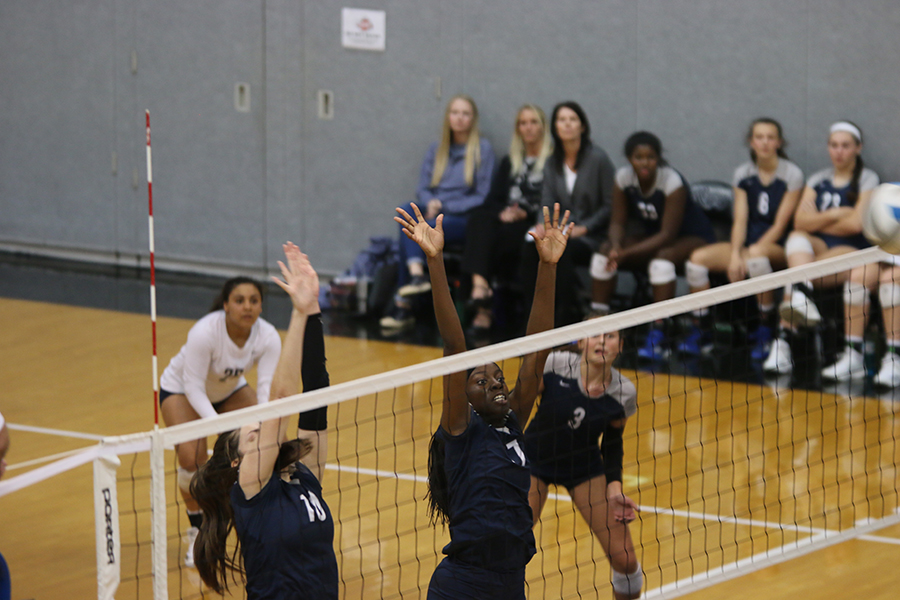 Reaching+above+the+net%2C+junior+Faith+Archibong+and+sophomore+Molly+Carr+block+the+ball.