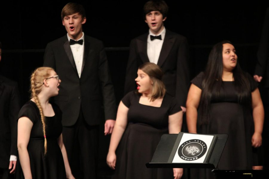 """Dancing to the song, """"Bill Bailey, Won't You Please Come Home?"""" by Hughie Cannon, seniors Lindsey Edwards and Allison Schein laugh along with the music."""