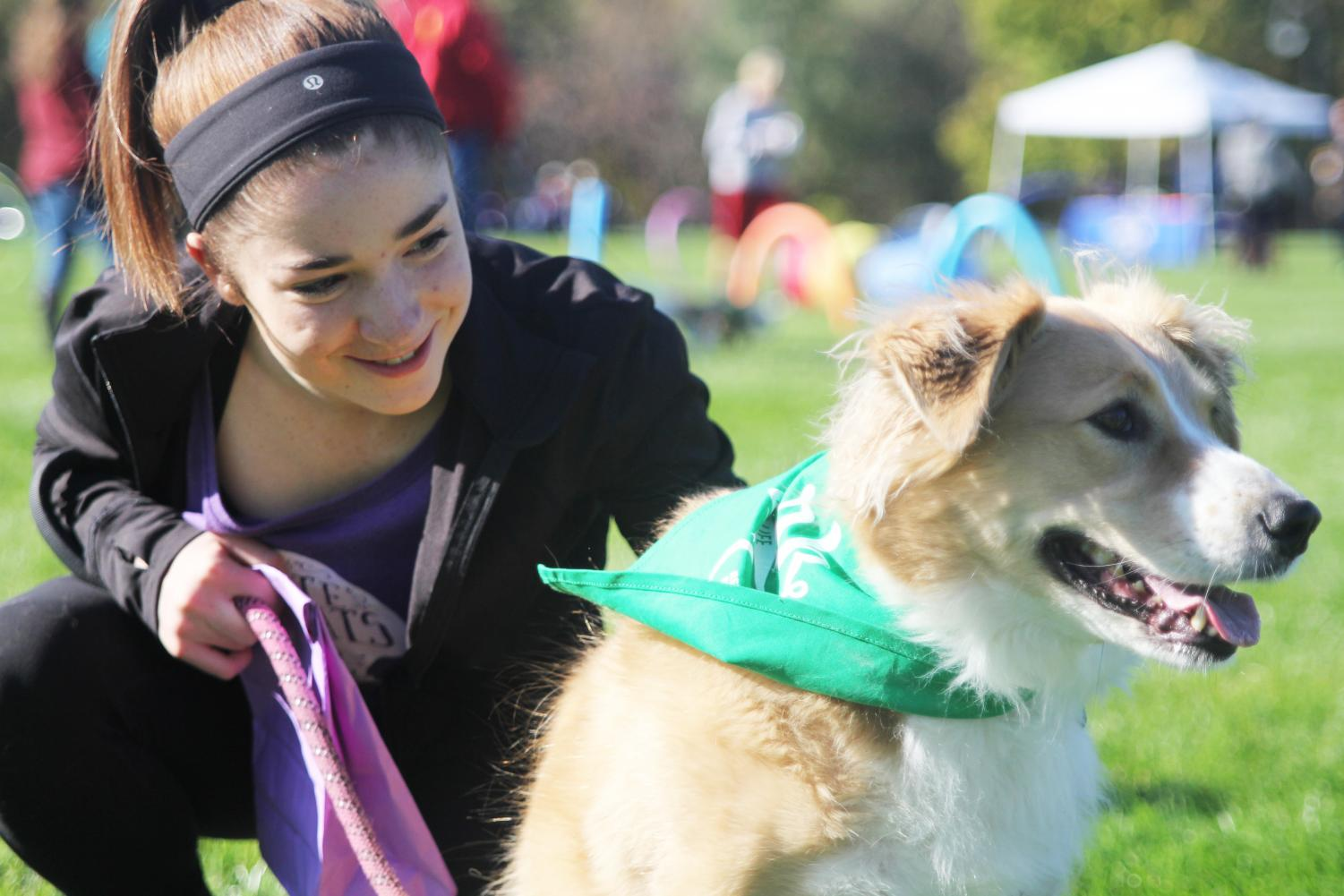 """At the Bark for Life event, freshman Anna Brazil pets her dog Brittany on Saturday, Oct. 10. """"I came to [Bark for Life] because I heard that it was for a good cause. I like how much of a community it is and how we can all take our dogs."""""""