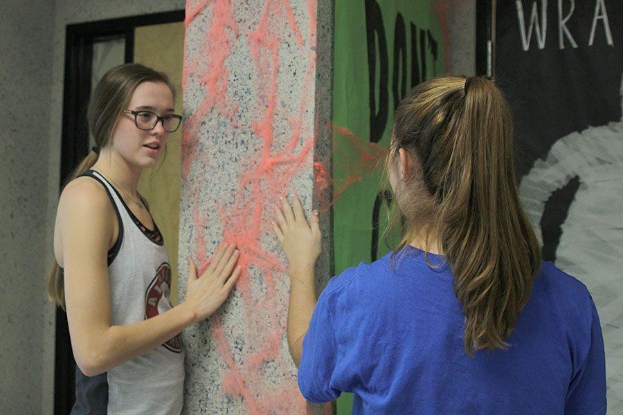 As she shows fellow judge sophomore Belle Bonn the fake spider webs, senior Erin Miller feels the faux webs surrounding social studies teacher Chris McAfee's classroom door.