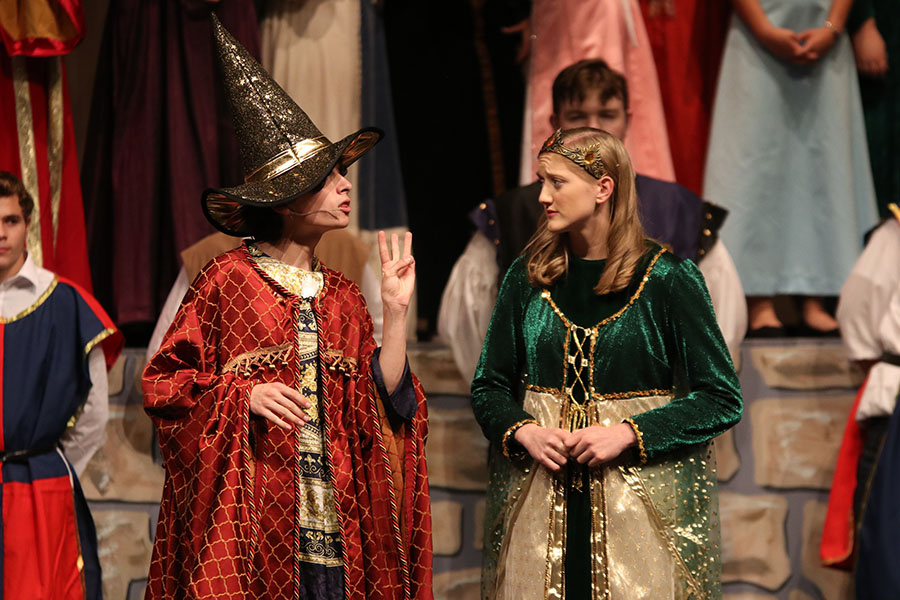 Opening+the+musical%2C+junior+Aidan+Thomas+plays+the+wizard%2C+who+tests+a+princess+played+by+senior+Ally+Appl.+