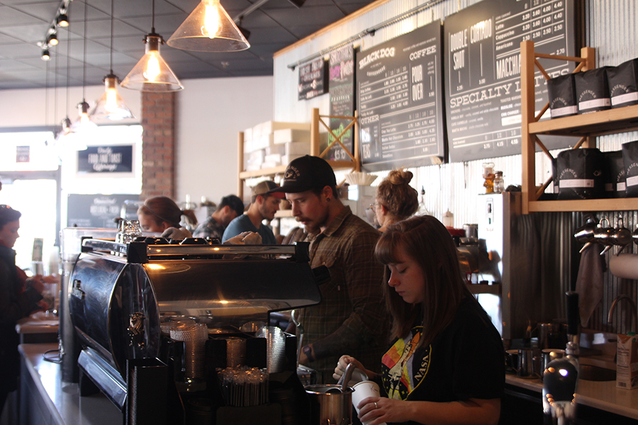 The Black Dog coffee house features a menu the is uniquely specific to Kansas City. They receive coffee roasted by Messenger Coffee in Kansas City, and all of their lunch and breakfast items are produced by the Ibis bakery, which is situated next door.