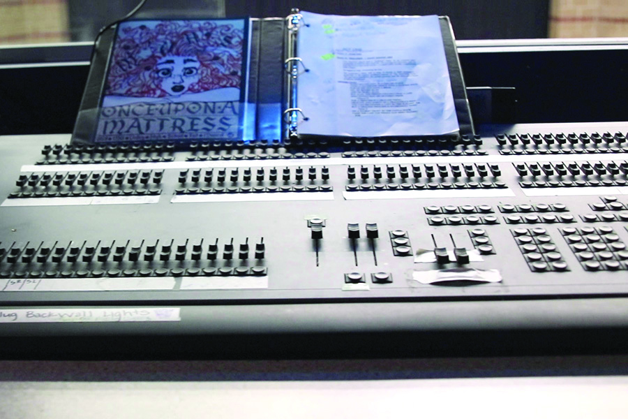 The soundboard, with the musical booklet on display, is part of the technology the stage crew works with.