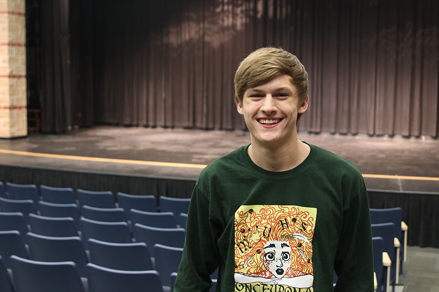 """Throughout his four years at Mill Valley, senior Blake Aerni has participated in many different shows in the drama department. """" I [have] always enjoyed singing and [I] thought that it would be a [good] way to use [my] talent,"""" Aerni said."""
