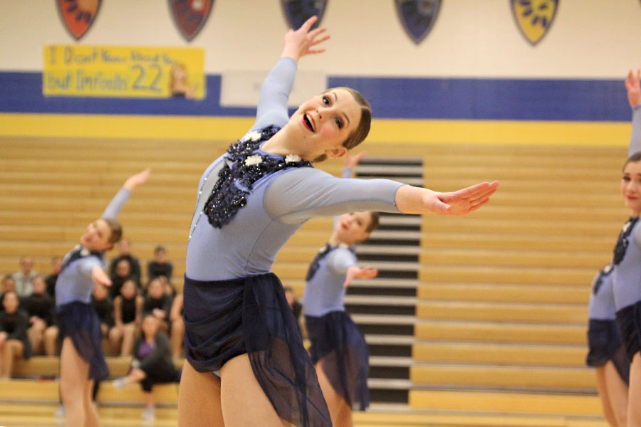 Throwing+her+arms+out%2C+sophomore+Kenzie+Harris+dances+in+the+jazz+routine%2C+which+received+the+Outstanding+Choreography+award+at+Miss+Kansas+on+Monday%2C+Jan.+21.
