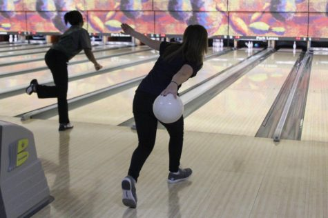 Attempting to knock down the last pin, junior Bri Laluk competes at the home meet held at Park Lanes on Thursday, Jan. 24. Laluk ended the meet with a career high 640 series.