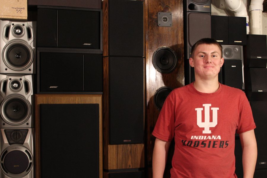 Among many other technological items, senior Wil Anglemyer builds and rebuilds speakers.