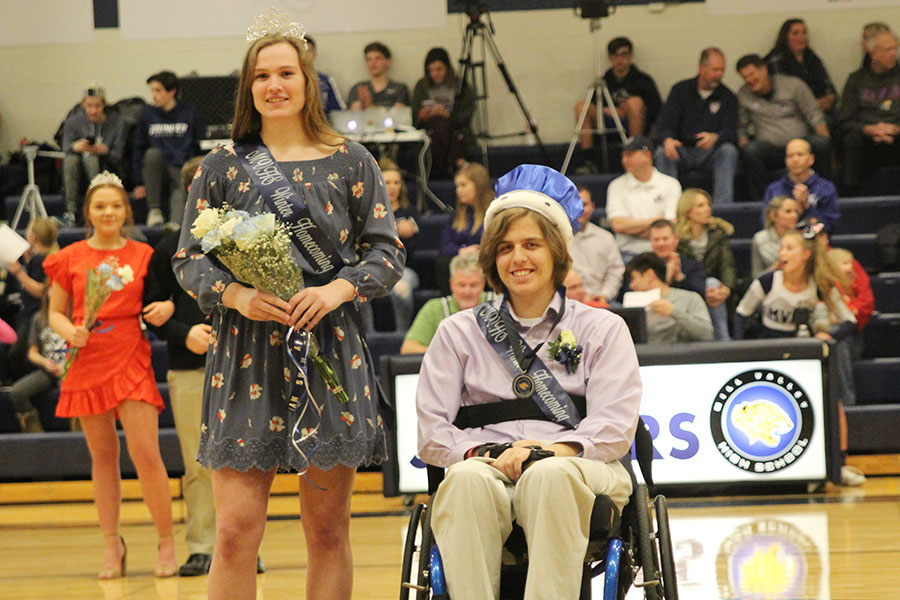 At the home basketball game against St. James on Friday, Feb. 1, seniors Claire Kaifes and Nolan Spargue are pronounced WOCO queen and king, respectively.