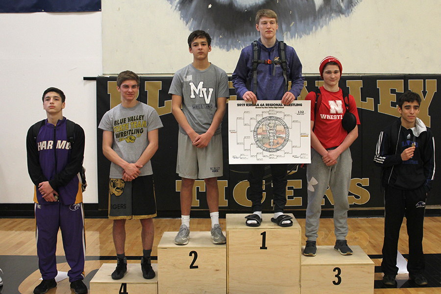 Stepping+up+to+the+podium%2C+junior+Austin+Keal+places+second+at+regionals+in+the+132lb+weight+class.