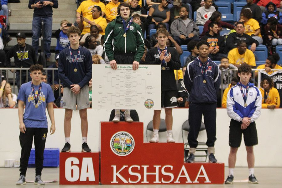 Sophomore Brodie Scott placed third in the 152-pound weight class.
