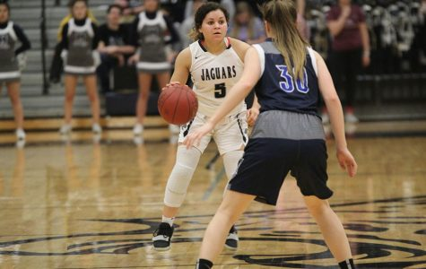 "The girls basketball team defeated Olathe West 56-44 on Thursday, Feb. 28 and will play at Olathe North in the second substate game on Saturday, March 2. ""We did pretty well together,"" senior Presley Barton said. ""We made shots and played good defense and were after loose balls."""