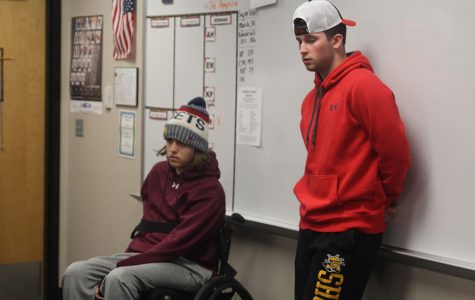 Senior Nolan Sprague speaks at Fellowship of Christian Athletes meeting