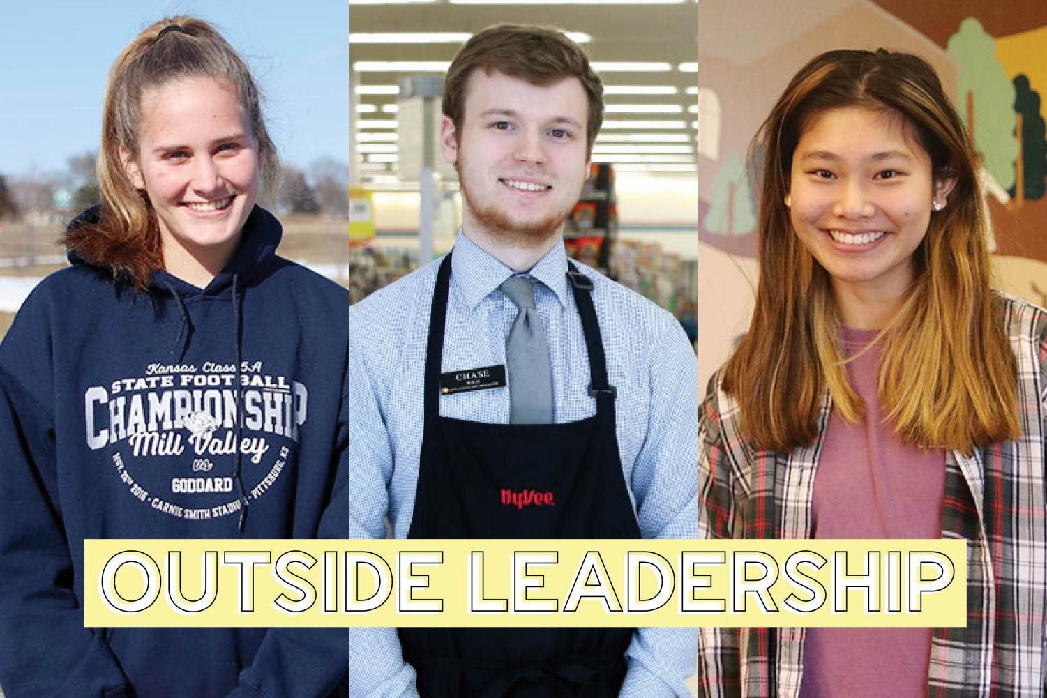Partaking in leadership roles outside of school, sophomore Emma Schieber is a team captain for her KC Fusion club soccer team, senior Chase Mick is an assistant manager at Hy-Vee and senior Libby Mullican serves on the regional youth cabinet.