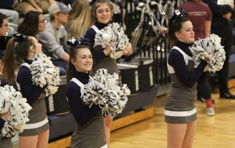 At the girls basketball substate game on Thursday, Feb. 28, sophomores Maddy McDonald and Morgan Botts cheer as the team scores.