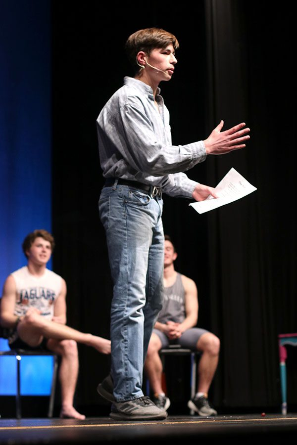"""In the poetry round of the competition, junior contestant Ben Stove recites """"The Victor"""" by C.W. Longenecker."""