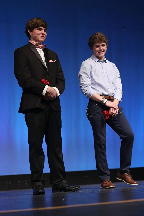 After making it to the final round of the competition, senior contestants Zach Bossert and Steven Colling anxiously wait for the 2019 Mr. Mill Valley to be revealed.