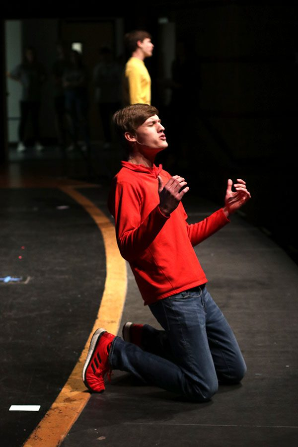 Also performing a song from Spongebob Squarepants, senior Blake Aerni belts out the lyrics on his knees while accompanied by last year's contestant senior Noah Smith.