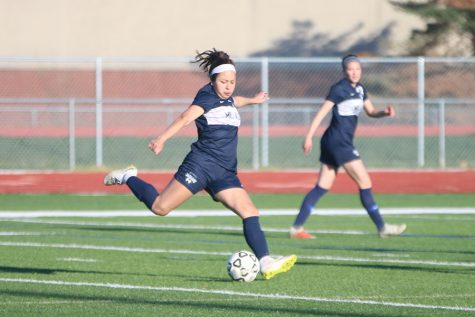 "Focused on the ball, junior Tina Talavera takes a shot on goal. The jags won with a final score of 3-0. ""We connected the ball really well and we got into their back line a lot,"" Talavera said, after the game."
