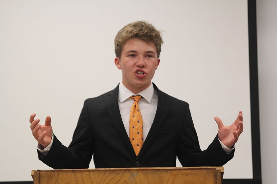 Arguing pro for this years resolution, senior Kaleb Shukeat debates over whether India should become a permanent member of the UN. Shukeat and his partner sophomore Dutch Platt placed 5th on the first day of competition at Shawnee Mission East.