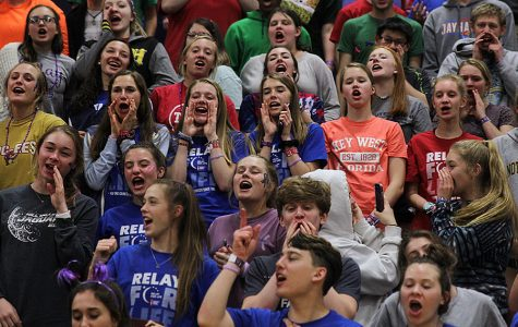 Students cheer during a Relay for Life pep rally. At last year's Relay for Life event, over 1,000 people attended and raised over $100,000 for the American Cancer Society. This year, despite coronavirus concerns, the event is set to proceed as normal.
