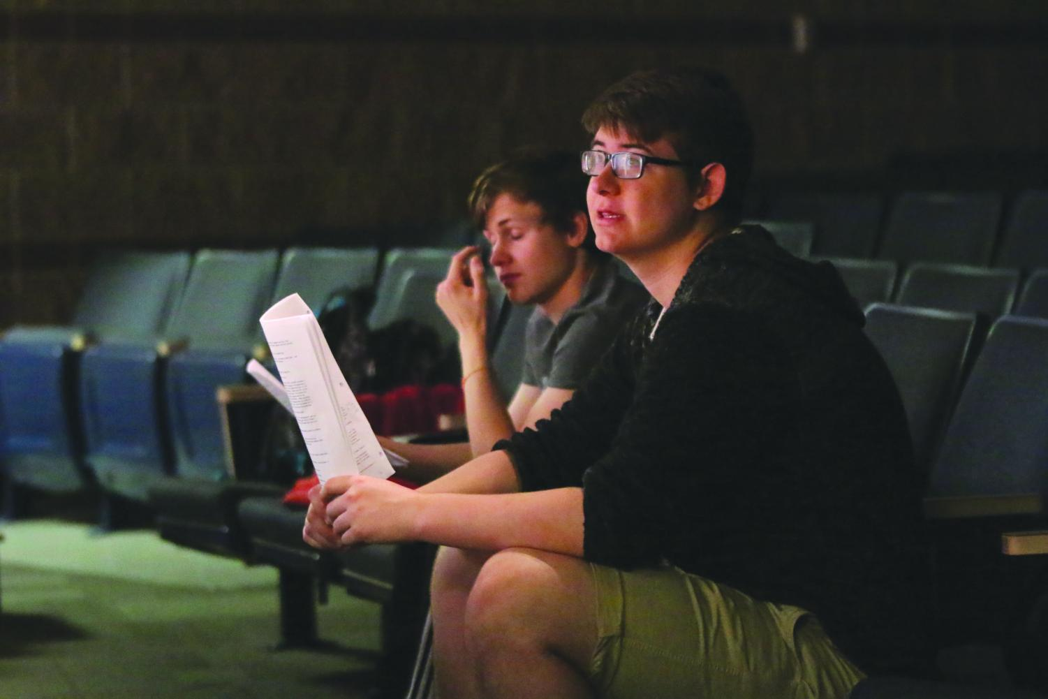 "In preparation for the upcoming show, seniors Noah Smith and Jame Ball critique the actors on stage Tuesday, April 30. ""It's extremely surreal to see people saying the lines you've written and playing characters you've created,"" Ball said."