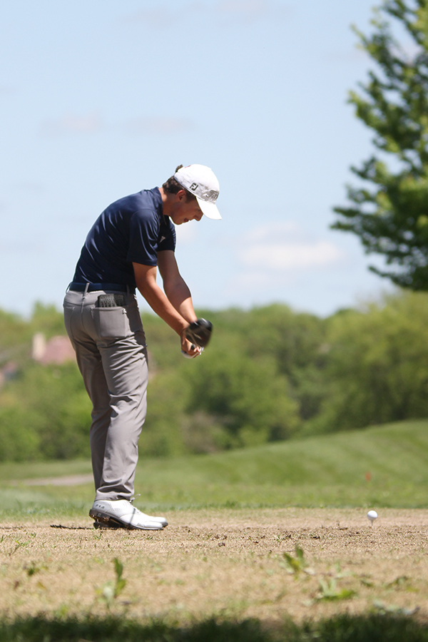 Mid+swing%2C+sophomore+Nick+Mason+keeps+his+eye+on+the+golf+ball+as+he+tees+off+on+hole+at+the+Iron+Horse+Golf+Course+on+May+6th.