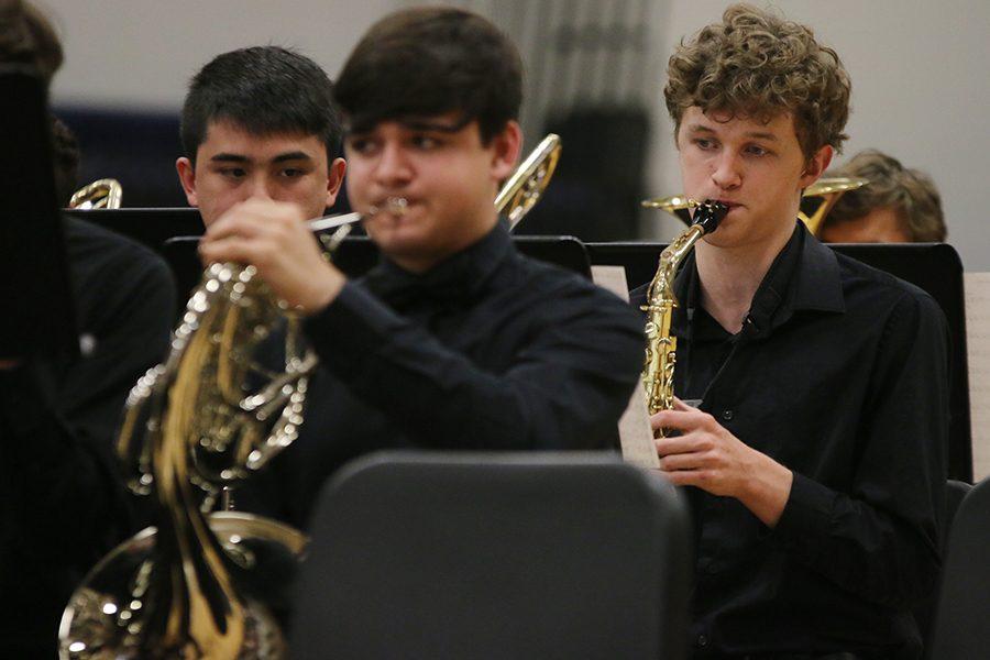 "Eyes focused on the music, sophomore John Fraka performs ""Swashbuckler"" composed by John Roberts."