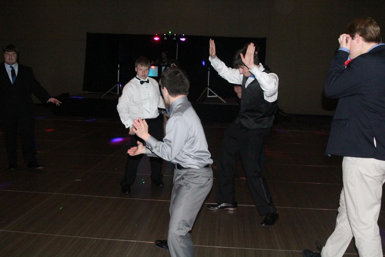 In+a+dance+off%2C+senior+Matt+Santaularia+shows+off+his+moves.+