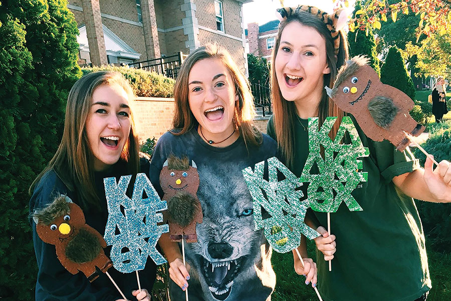 "Class of 2016 graduate Tori Aerni participates in a ""Where the Wild Things Are"" themed Homecoming parade with her Kappa Delta sorority sisters on October 22, 2016."