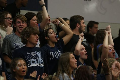 """Senior Jess Garcia participates in the """"Party"""" chant class competition."""