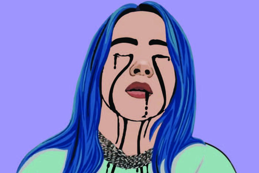 Teen+artist%2C+Billie+Eilish%27s+graphic+imagery+presented+in+her+music+videos+makes+being+sad+and+depressed+seem+desirable.+