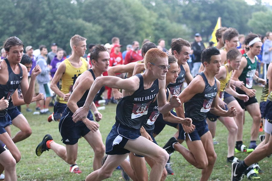 Starting strong, boys Varsity runs ahead of their competitors.