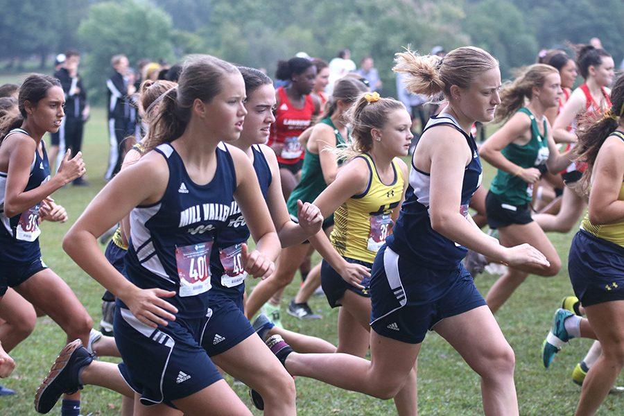 Pacing themselves, girls junior varsity begins their race.