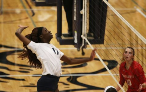 As senior Faith Archibong prepares to hit the ball over the net, she extends an arm behind her.